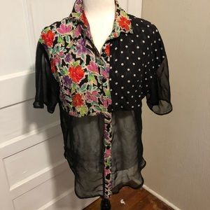 Vintage Sheer, Floral, and Polka Dot Button Down